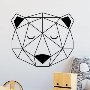 Vinilo de pared cabeza de oso geométrica