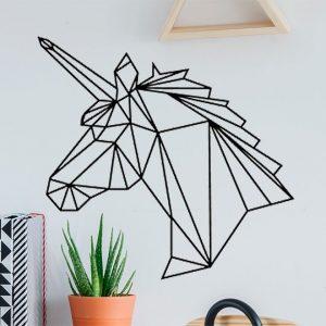 Vinilo de pared unicornio geométrico