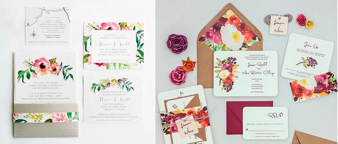 Papelería floral para bodas