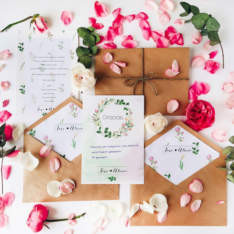 Papelería floral para bodas FyCh